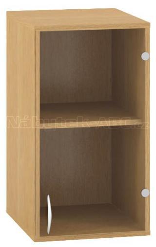Kancelářská skříň OfficePlus 400x458x717, nástavec, dveře pravé, sklo