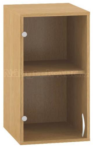 Kancelářská skříň OfficePlus 400x458x717, nástavec, dveře levé, sklo