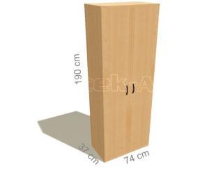 Kancelářská skříň šatní STABIL, 74x37,2x190cm