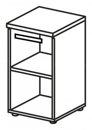 Skříň LINE OFFICE, pravé skleněné dveře, 39,9x42,5x80cm