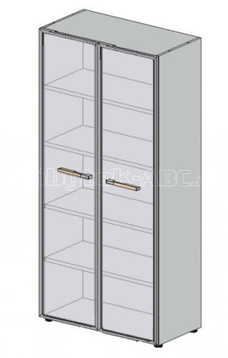 Skříň LINE OFFICE, skleněné dveře, 79,8x42,5x196,5cm