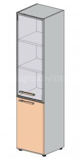 Skříň LINE OFFICE, dveře pravé sklo/dřevo, 39,9x42,5x196,5cm