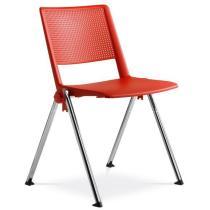 Jednací a konferenční židle GO! 114-N4, chromovaná konstrukce, plast
