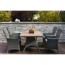 Zahradní nábytek - jídelní set RIMINI, ratan, šedohnědý