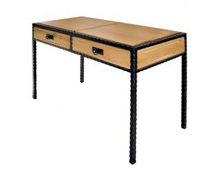 Kovový stolek CARCASSONNE s vloženým dřevem
