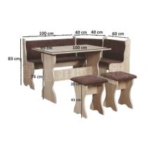 Jídelní sestava TOMAS, rohová lavice, stůl, taburet