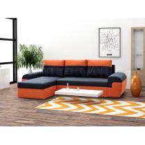 Sedací souprava Mori, rohová, rozkládací, tmavěšedo-oranžová