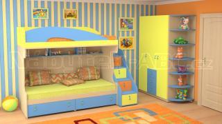 Dětský nábytek MIA - sestava č.7 modro-žlutá