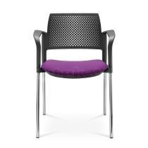 Jednací a konferenční židle DREAM+ 100-BL/B-N2, konstrukce efekt hliník, područky