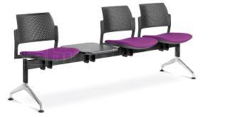 Multisedák trojmístný DREAM+ 145/3T-N1, konstrukce černá, stolek