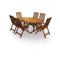 Zahradní nábytek - Sestava MERANTI PARIS set 6, rozkládací150/200x90x74cm