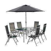 Zahradní nábytek - Sestava VeGAS 6-AL se slunečníkem, 150x90cm