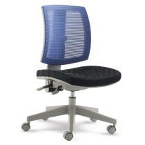 Otočná židle MyFlexo pro děti a mládež, černý čalouněný sedák a záda z modré síťoviny