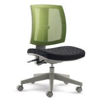 Otočná židle MyFlexo pro děti a mládež, černý čalouněný sedák a záda ze zelené síťoviny