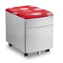 Pojízdný kontejner pro stoly PROFI 3 s čalouněnou sedací plochou z látky