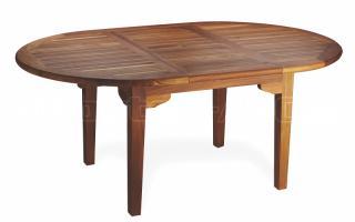 Teakový zahradní rozkládací stůl ELEGANTE (ovál), 120x130/180cm