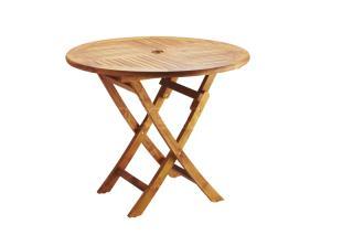 Teakový zahradní stůl VASCO, skádací Ø 75cm