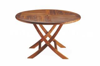 Teakový zahradní stůl VASCO, skádací Ø 90cm