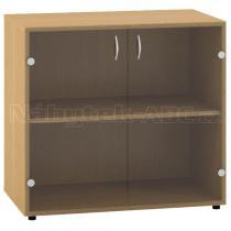 Kancelářská skříň OfficePlus 800x458x742 přístavná, dveře sklo