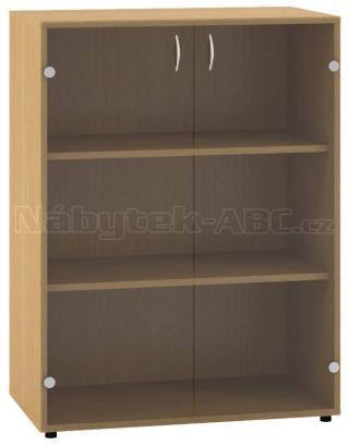 Kancelářská skříň OfficePlus 800x458x1063, dveře sklo